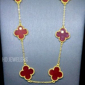 Jewelry - Red S925 Silver 10 Motif Clover 18K Gold Necklace